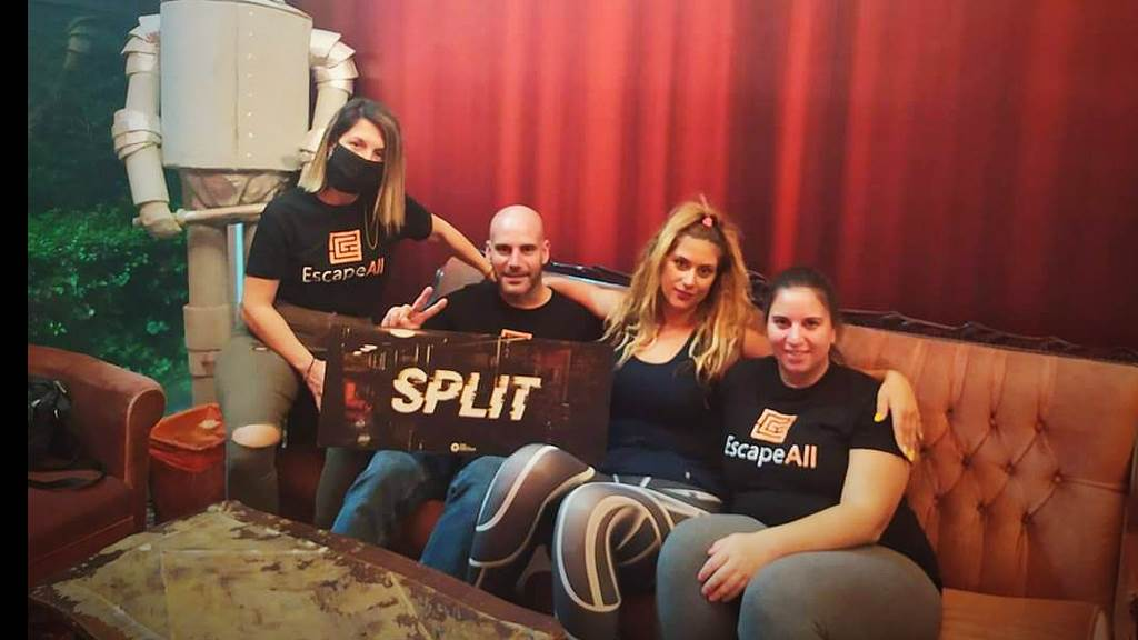 Split team photo